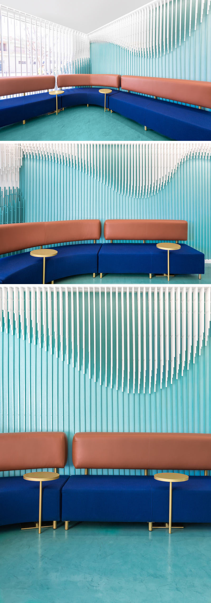 Throughout this modern dental clinic, including the waiting room, there's a sculpture of 2884 wooden strips that hang from the ceiling and overwhelm some of the main walls with the aim to recreate a smile. #WallSculpture #InteriorDesign #WaitingRoom