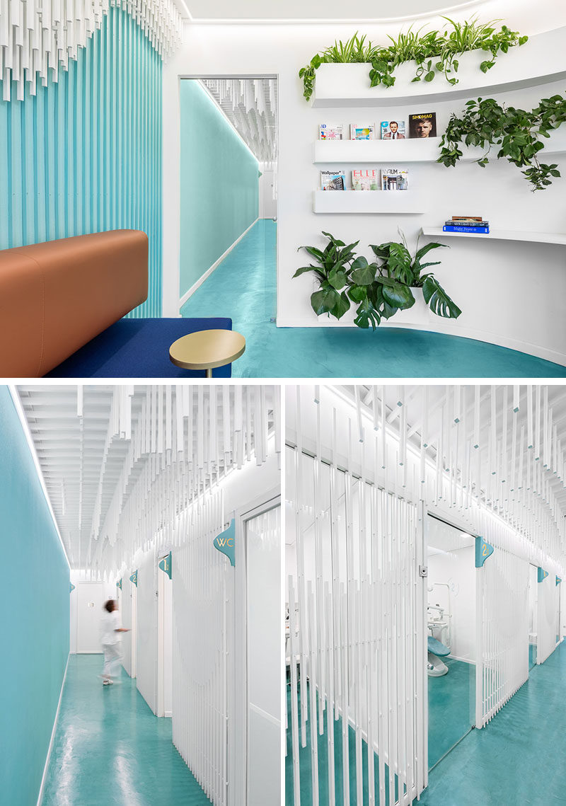 This modern dental clinic features a wood stick sculpture that carries through from the waiting room to the treatment rooms. #DentalClinic #Shelving #Sculpture #InteriorDesign