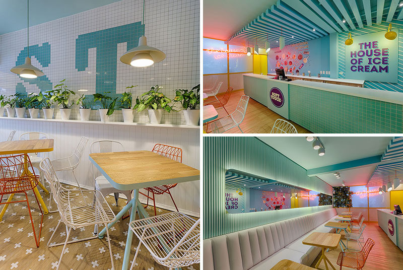 Design studio Plasma Nodo have completed 'Soft Touch', a modern ice cream shop in Medellin, Colombia, that features bright and fun colors. #IceCreamShop #RetailStore