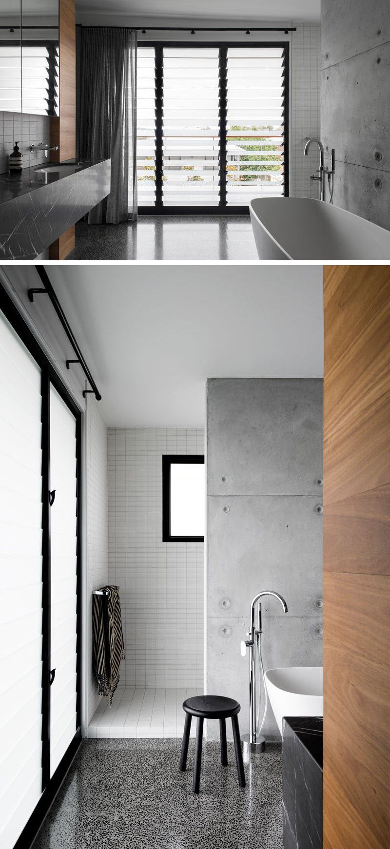 This modern has wood elements combined with concrete, stone, white tiles and black window frames. Louvre windows provide air flow and at the same time offer some privacy. #ModernBathroom #LouvreWindows