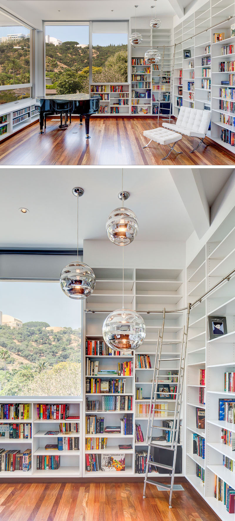 This modern home library has walls filled with open shelving and windows that look out to the neighborhood. #ModernLibrary #HomeLibrary #Shelving