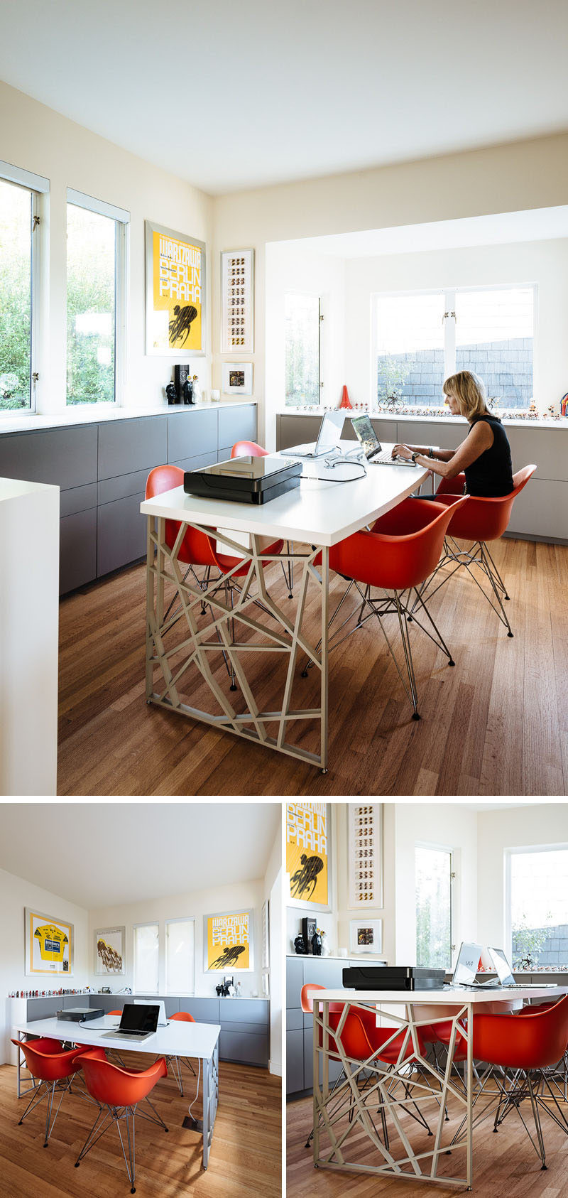 This modern home office has been designed with the desk in the middle of the room, while cabinets line the lower half of the wall. #ModernHomeOffice