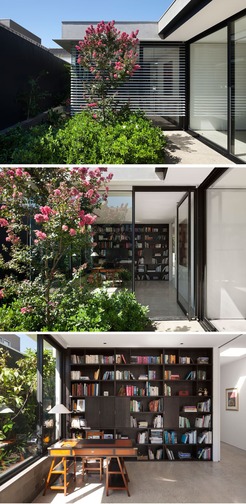 Somewhat hidden behind the plants in this modern courtyard is a door to an office. Inside, there's floor-to-ceiling wood shelving and a desk sits by the window. #HomeOffice #Shelving