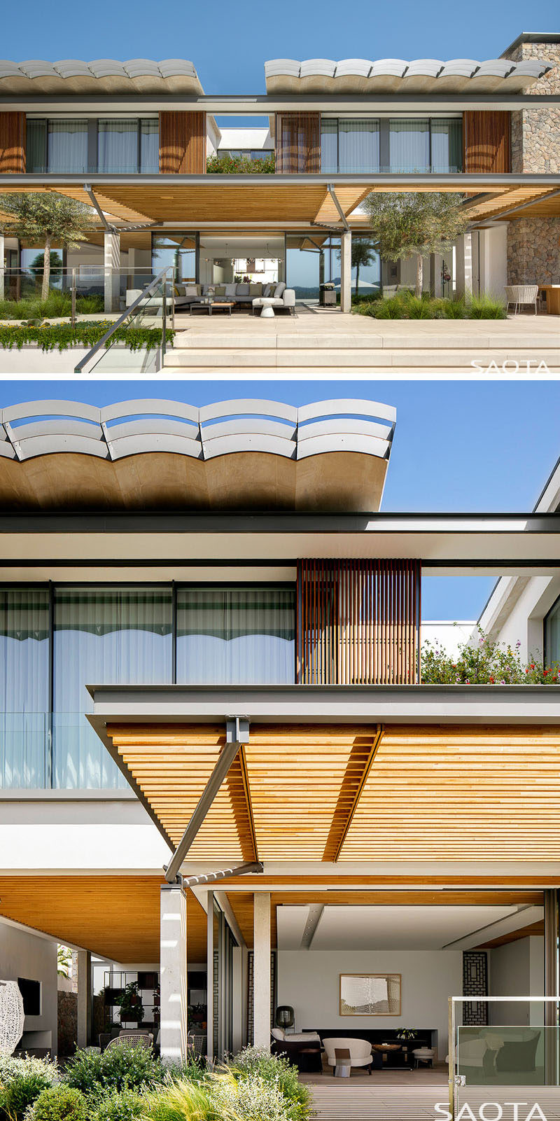 This modern house uses materials including plaster, stone, wooden pergolas and shutters, aluminium and large expanses of glass.#ModernHouse #BuildingMaterials #Architecture