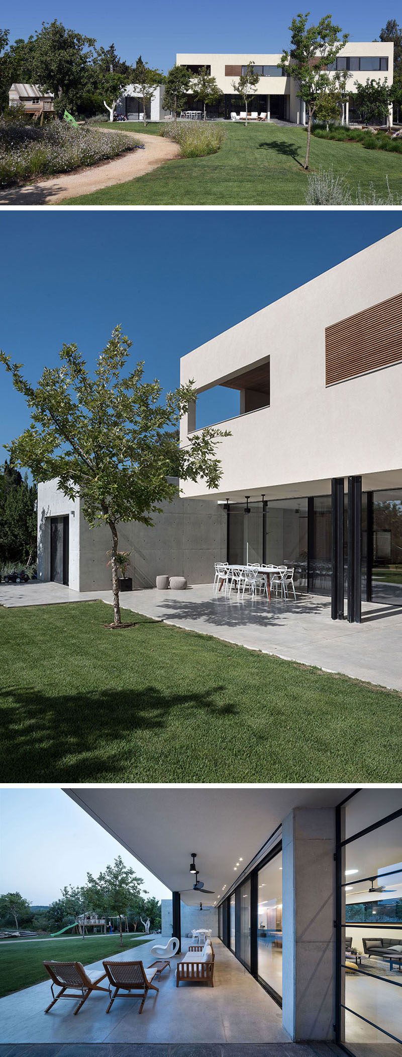 This modern house has a large backyard and a partially covered patio area for outdoor dining and lounging.