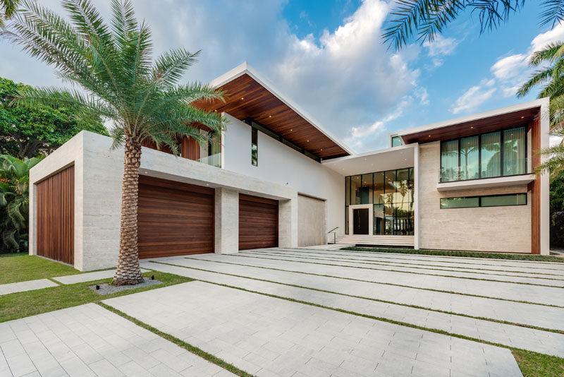 South American Ipe wood has been used as an accent on the exterior of this modern house.