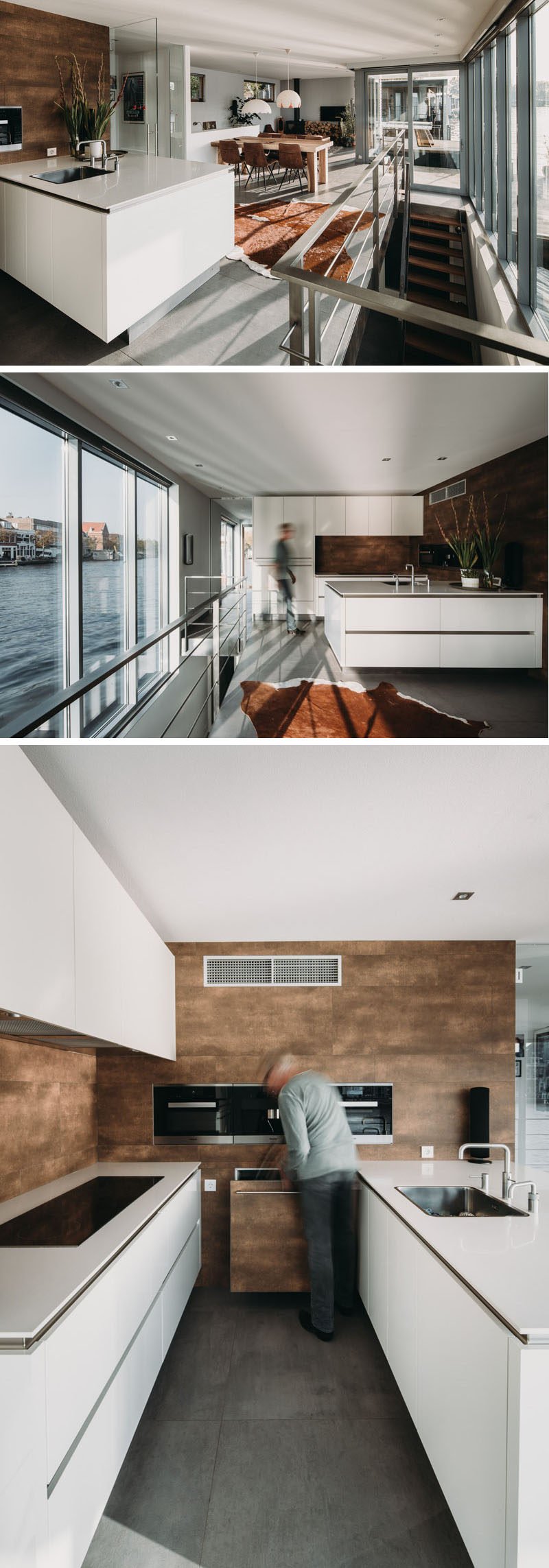 This modern houseboat has a kitchen that's minimalist in its design with hardware free white cabinets and matching countertops. #ModernKitchen #WhiteKitchen