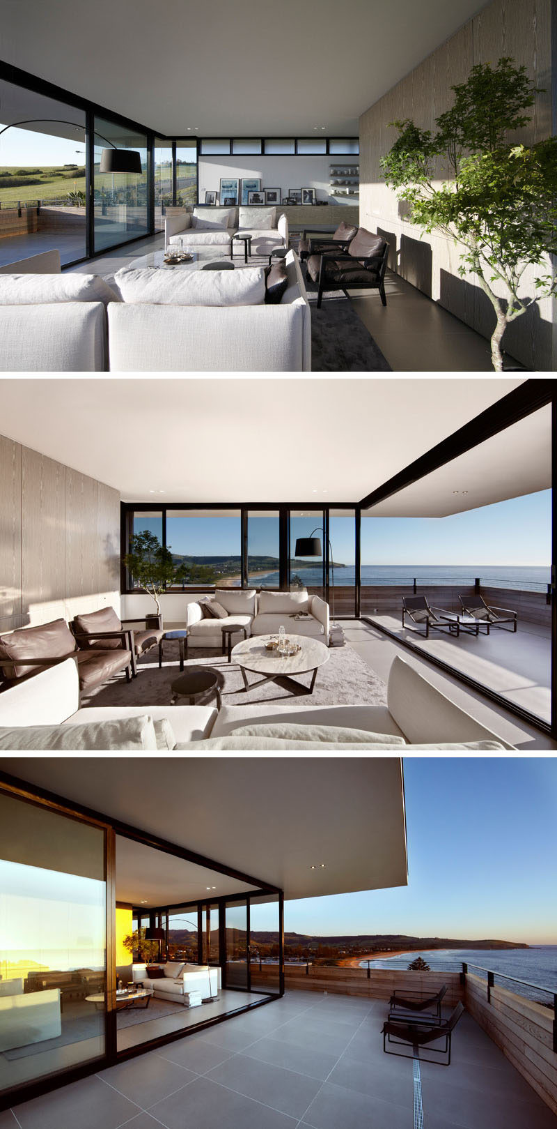 This modern living room has large sliding glass walls to open it up to the balcony. #LivingRoom #Balcony