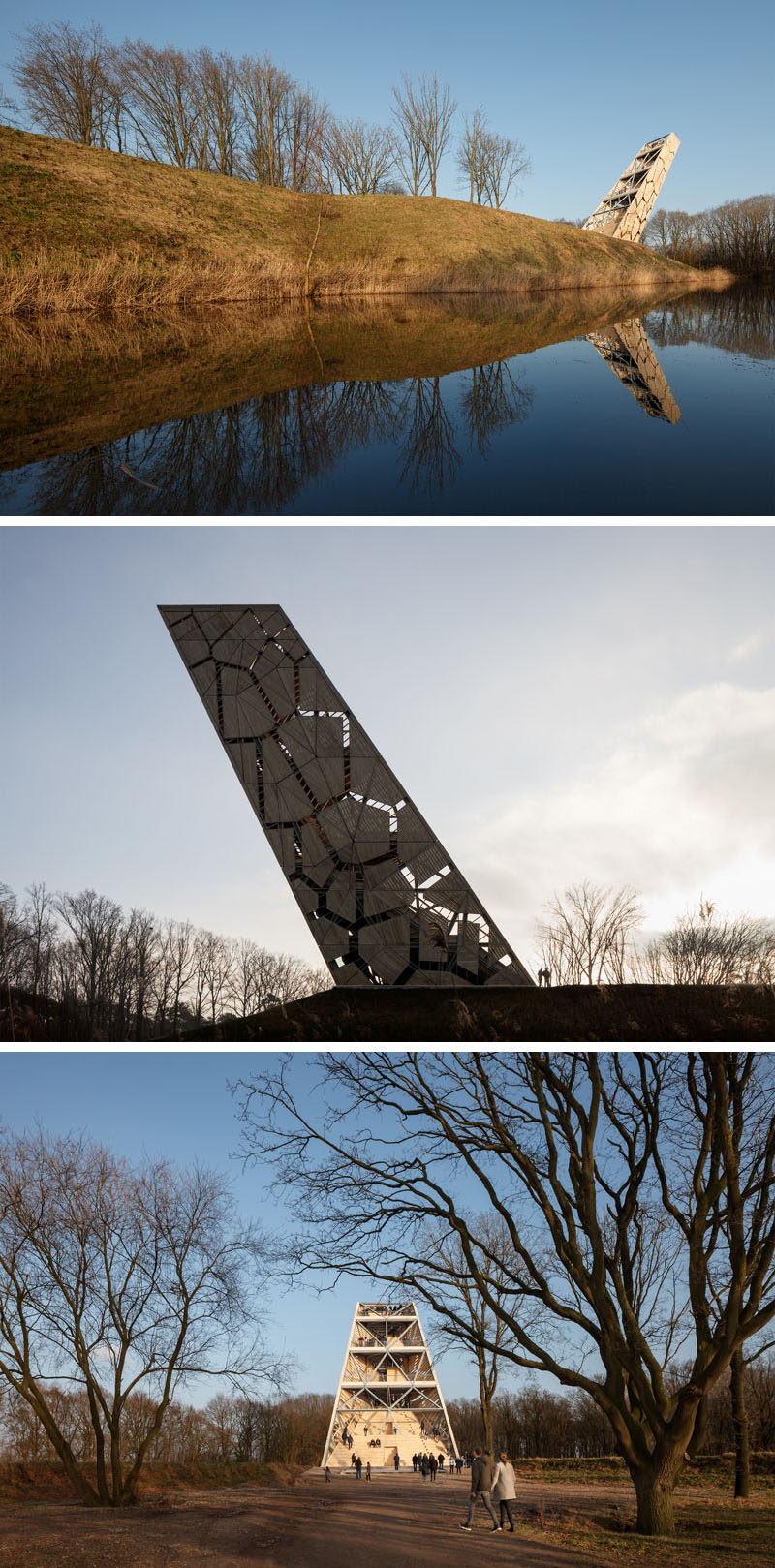 RO&AD Architecten have recently completed Pompejus, a watchtower, an open-air theatre and an information point for tourists, that's located on Fort de Roovere in Halsteren, The Netherlands. #Watchtower #Lookout #Architecture #Design