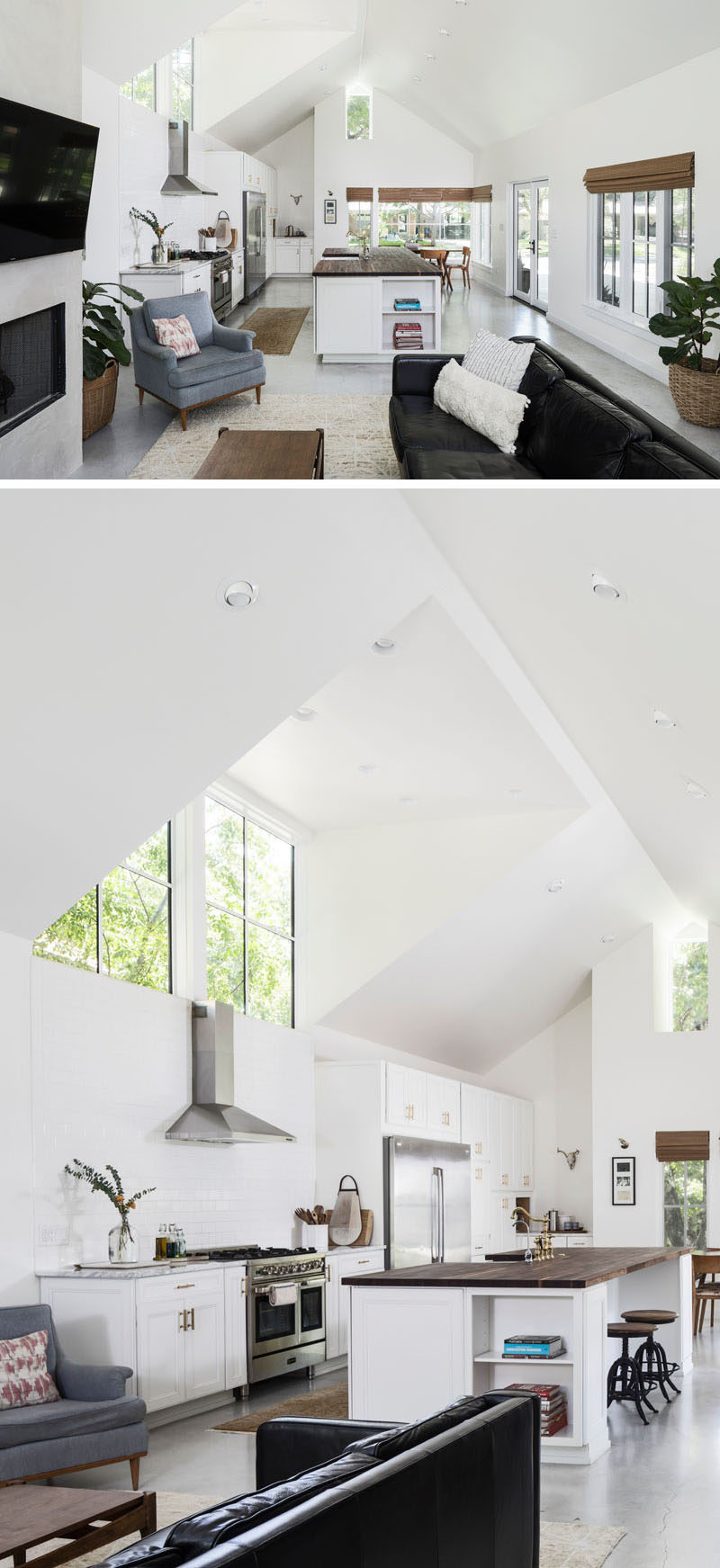 The living room, dining room and kitchen of this contemporary house all share the same open space with a pitched ceiling. The room is filled with natural light from the abundance of windows that look out onto the backyard. #Kitchen #Windows #OpenLivingSpace
