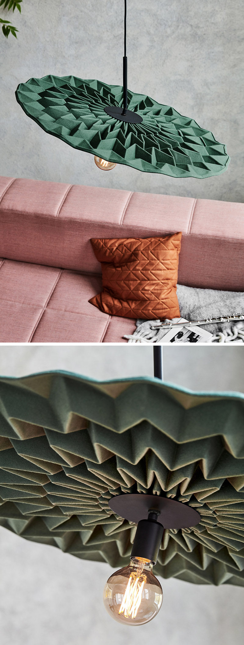 Kyla McCallum has designed 'Fold', a modern pendant light whose design has been inspired by the crisp folds of origami. #ModernLighting #PendantLight #Design