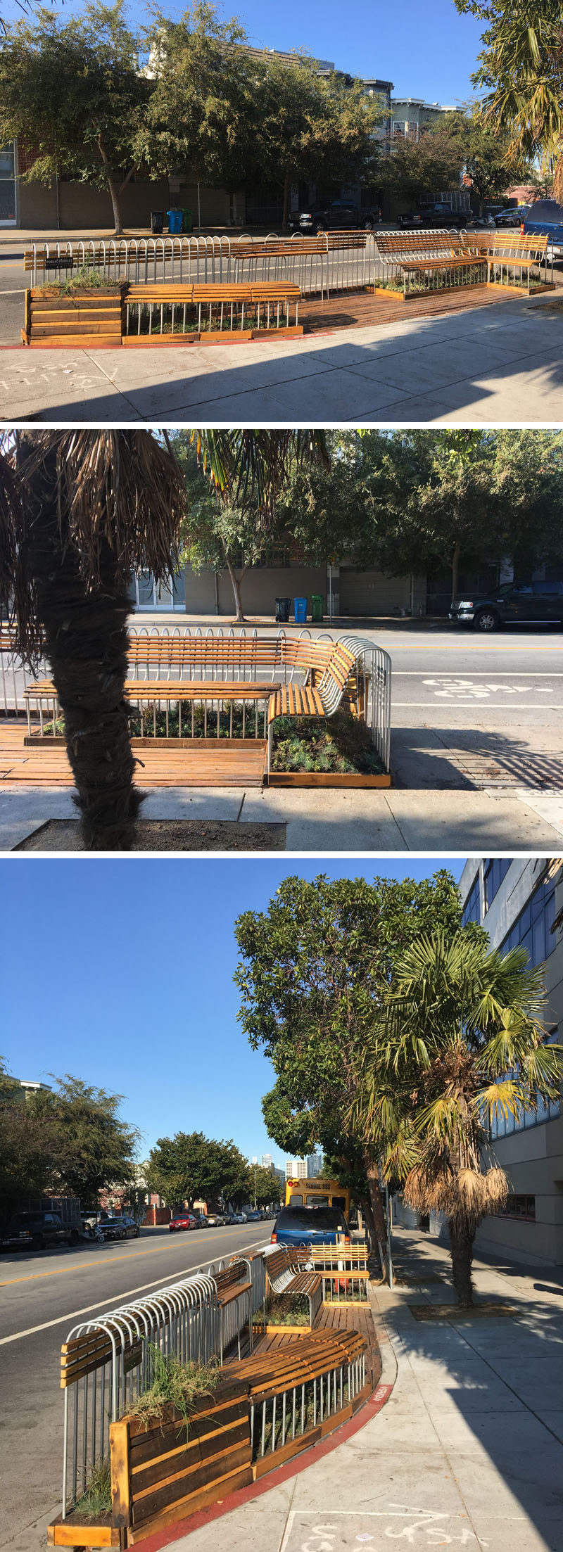Youth Art Exchange (YAX) youth architects from the YAX Architecture Firm, lead by faculty architect Kali Gordon and John O'Connell High School Construction Instructor Chris Wood, developed an innovated parklet design utilizing reclaimed cedar and conduit pipes. #Parklet #Landscaping #Design