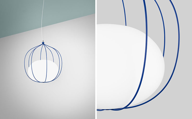 Swedish firm Front Design, have created 'Hoop', a new pendant light that has a slightly elliptical globe that rests within a system of rings. #Lighting #PendantLight #ModernLight