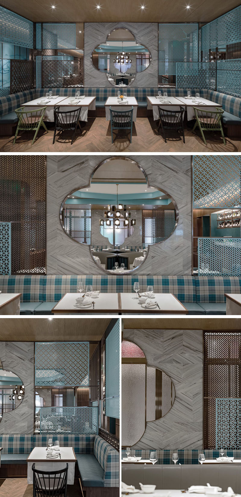 The main dining room in this modern restaurant has a seating area with banquette seating and a modern interpretation of a Chinese garden window. #BanquetteSeating #RestaurantDesign