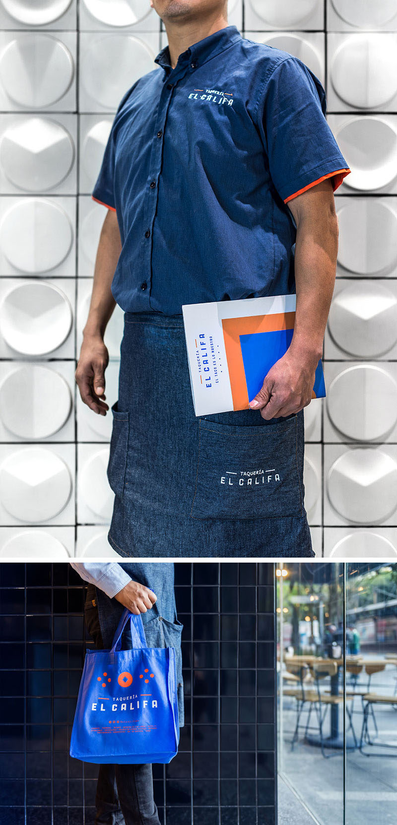 Esrawe Studio designed the branding and interior for El Califa Taqueria, that features dark blue uniforms with a white logo. #Branding #RestaurantBranding