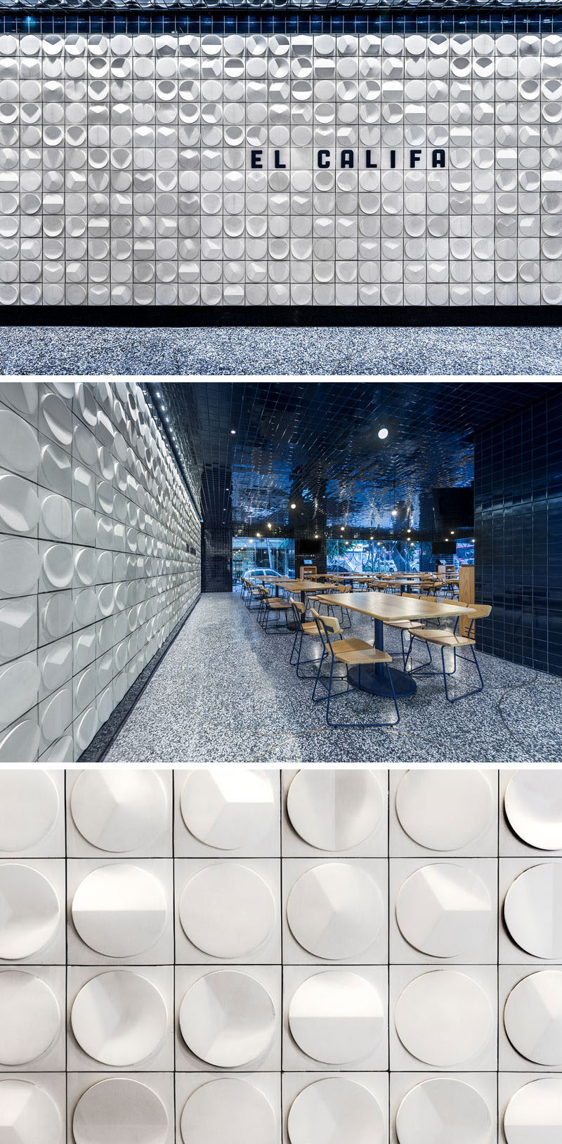 This modern taqueria restaurant features 3-dimensional tiles with the shapes similar to how people use tortillas in their cooking throughout Mexico. #RestaurantDesign #Tiles