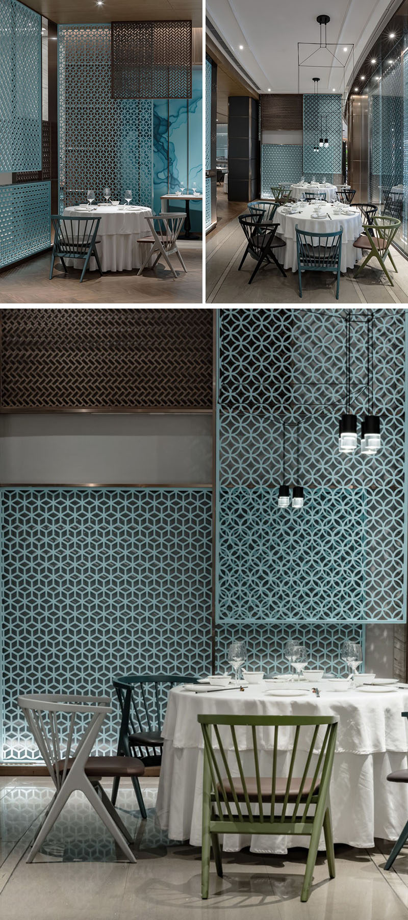 Throughout this modern restaurant, transparent decorative screens provide a patterned element to the interior. #DecorativeScreen #Pattern #RestaurantDesign