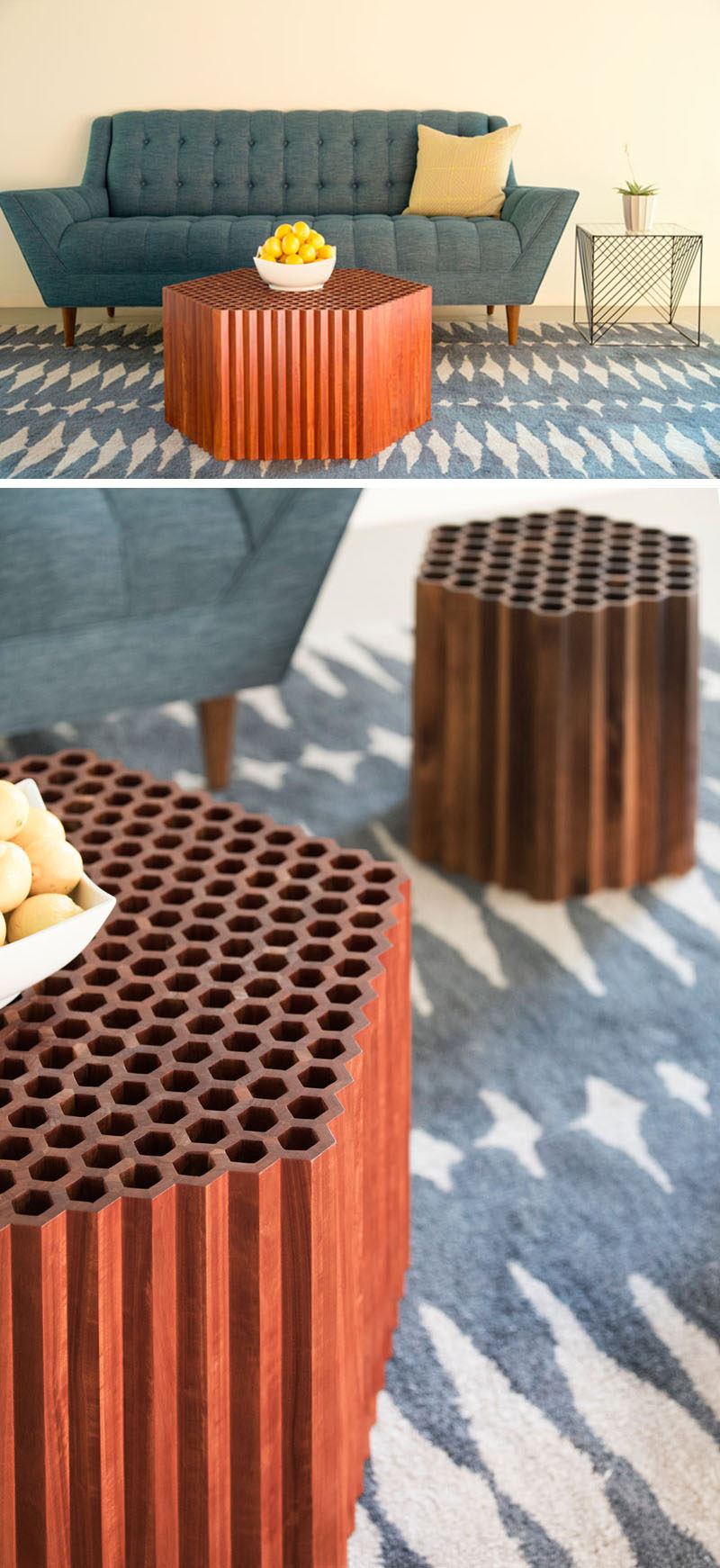 Furniture designer and maker Josh Neilsen, has created the Honeycomb Table, inspired by geometry in nature and made from hand-crafted hexagonal wood cells. #WoodCoffeeTable #SculpturalFurniture #Design
