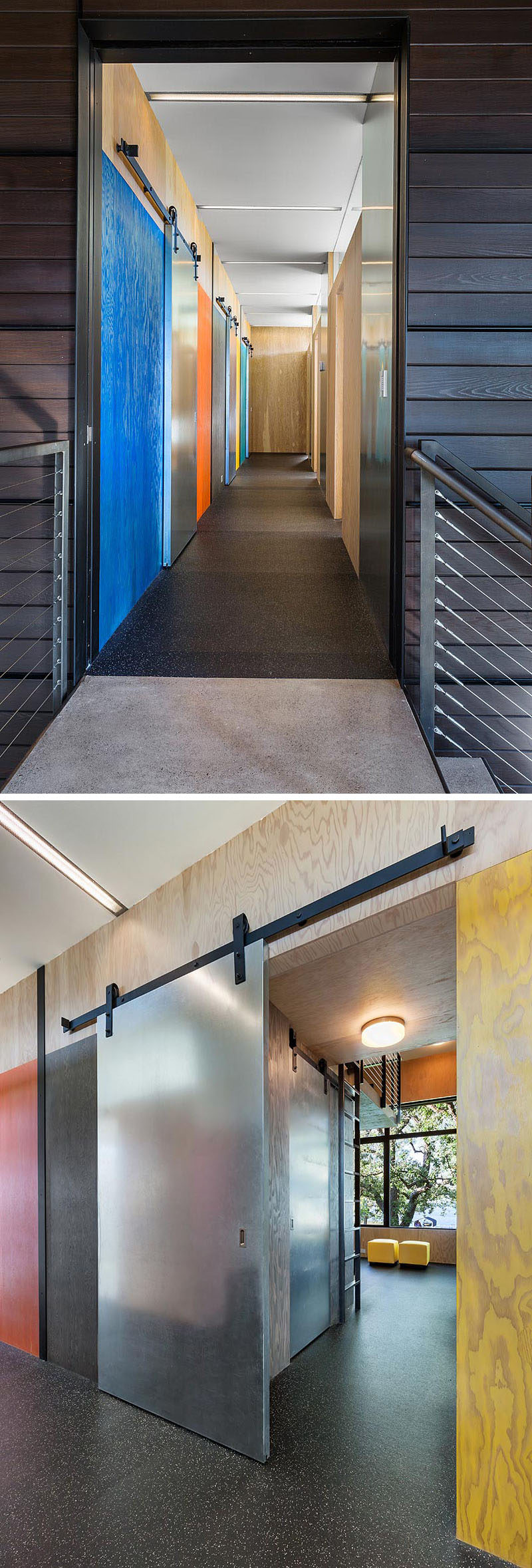 This industrial modern house has colorful stained plywood walls and metallic sliding barn doors. #StainedPlywood #SlidingBarnDoors
