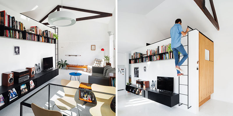 This Small Apartment Has A Loft Area For Relaxing Or Storage