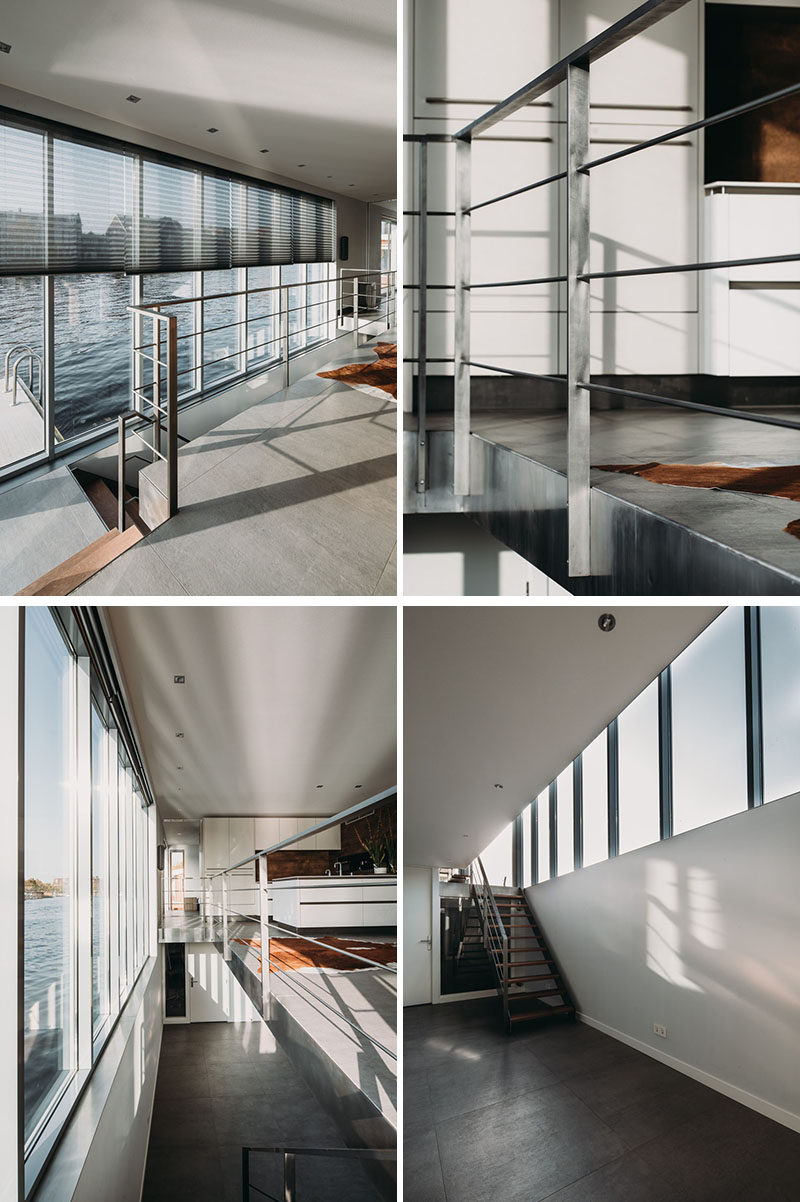 This modern houseboat has a staircase that leads down to the lower level with open space and a couple of bedrooms. #stairs #handrail