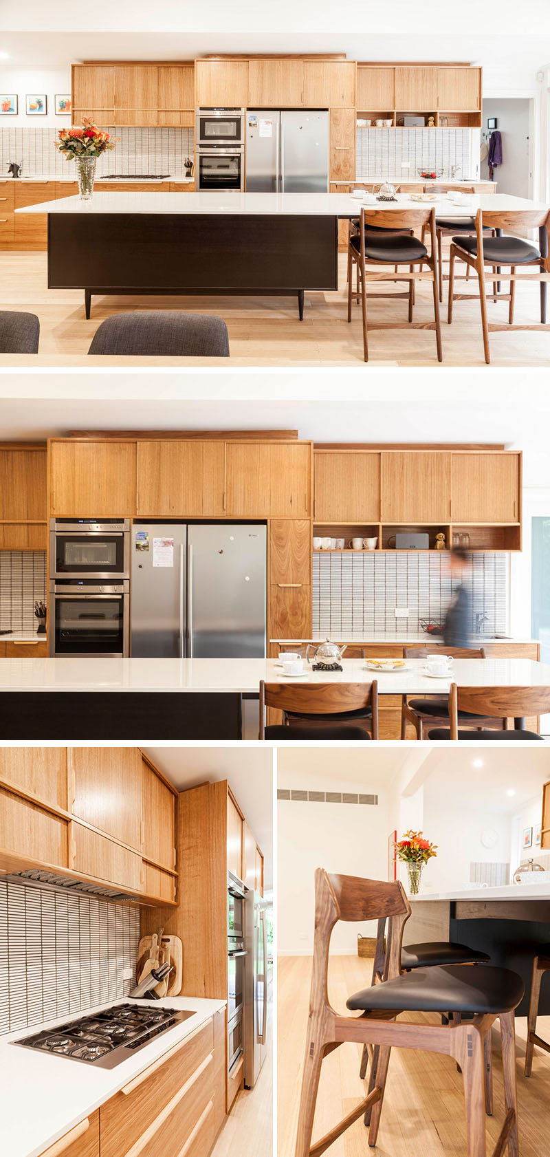 This bespoke, mid-century modern styled kitchen, that features an island with mid-century style legs, custom cabinetry with handmade drawer/cabinet pulls, and a tiled backsplash which adds texture to the room. #WoodKitchen #MicCenturyModernKitchen