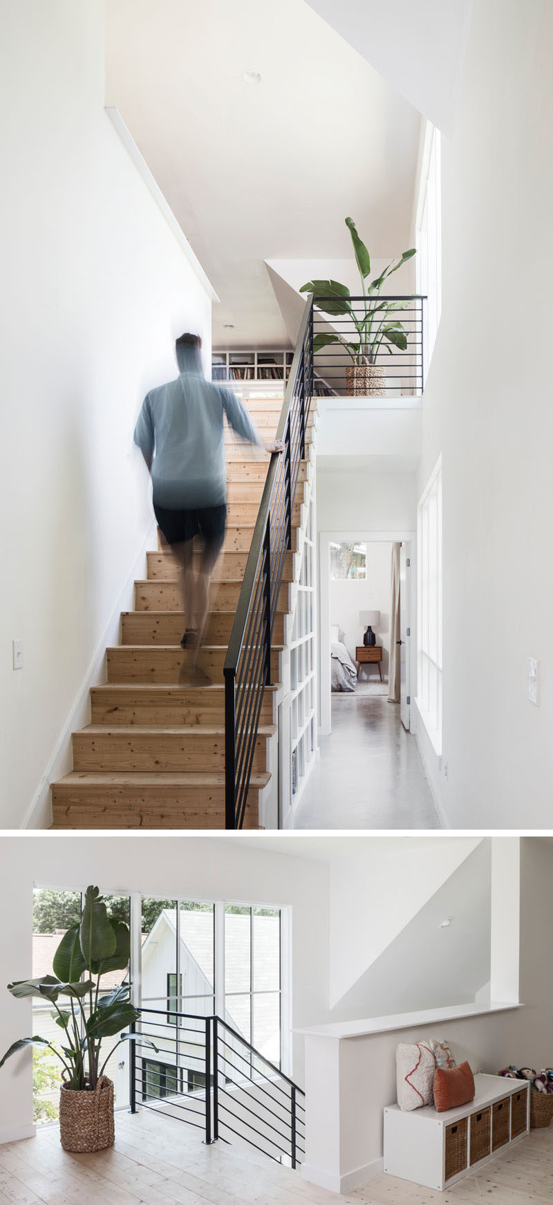 These simple wood stairs with a black handrail lead to the upper floor of the home. #WoodStairs #BlackHandrail