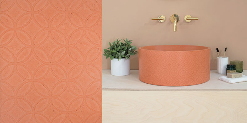 Kast have designed 'Kast Canvas', a series of 3 concrete basins that have surface patterns to add texture and interest. #Concrete #ConcreteSink #ConcreteBasin