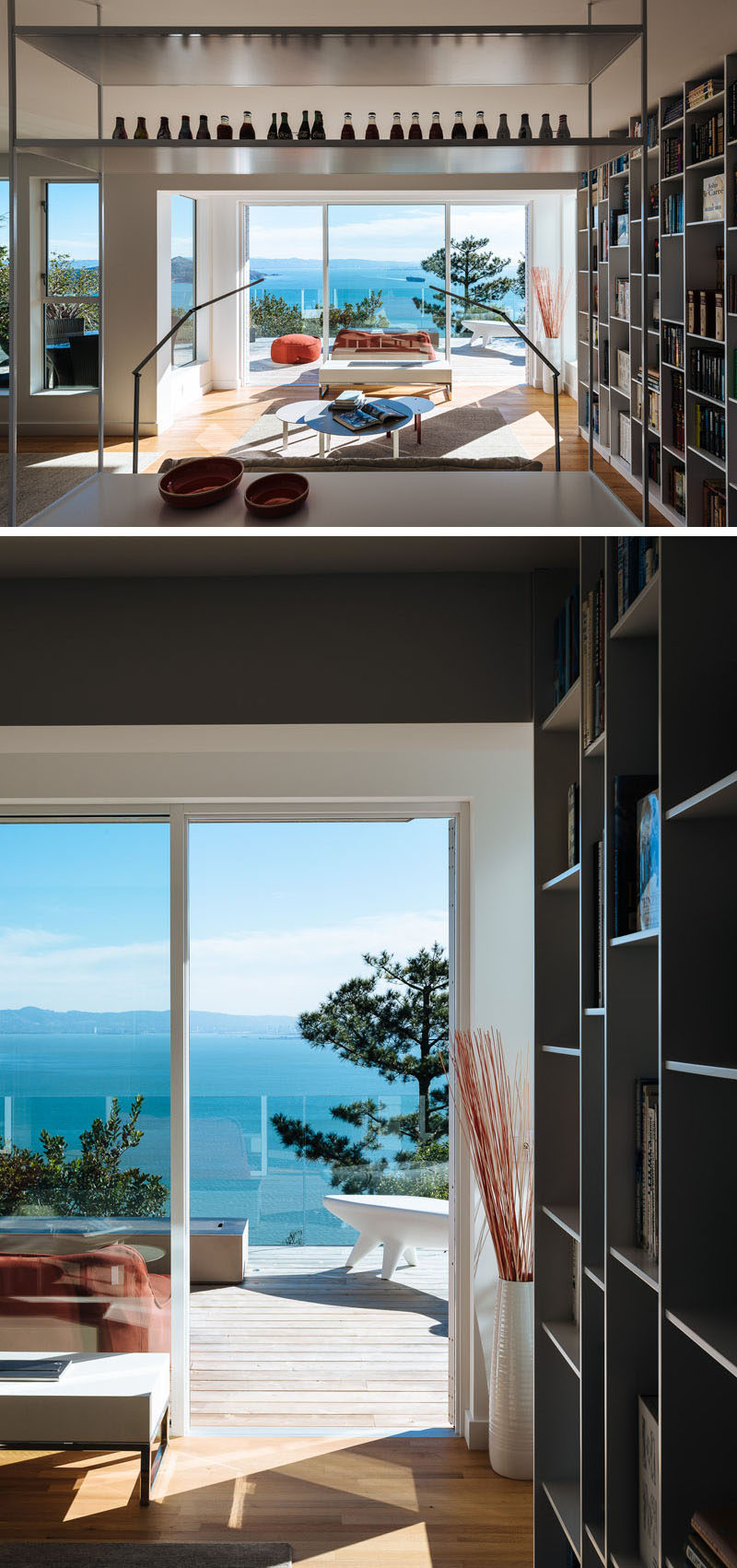 This house has a library with a sitting area that opens up to a balcony. #LivingRoom #Library