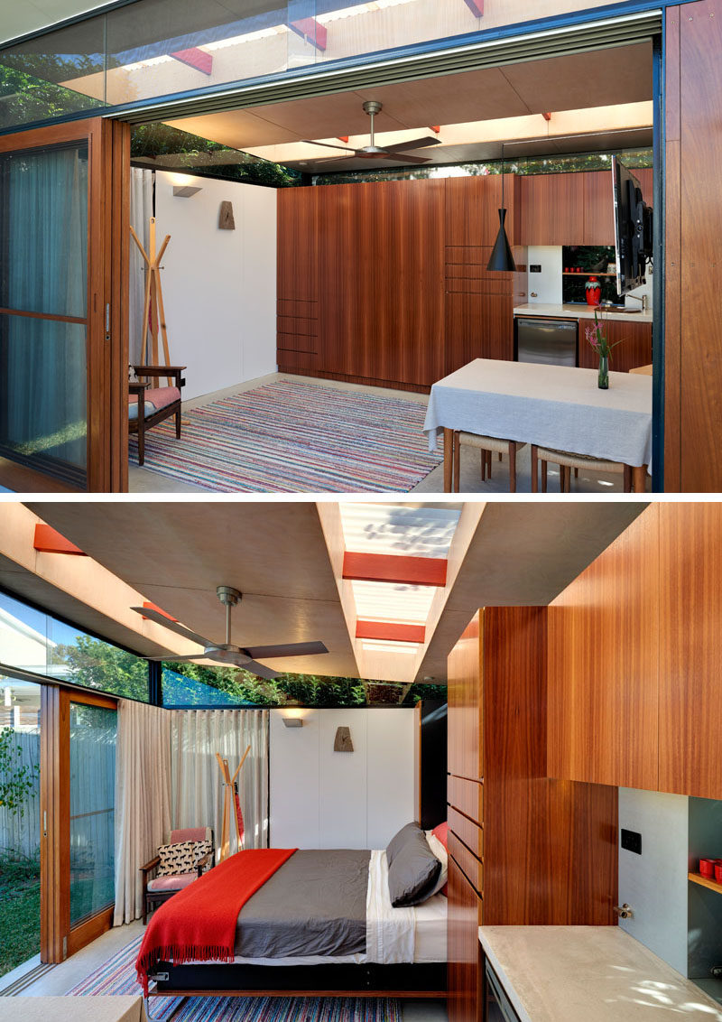This impressive backyard shed combines living quarters a for Shed office interior