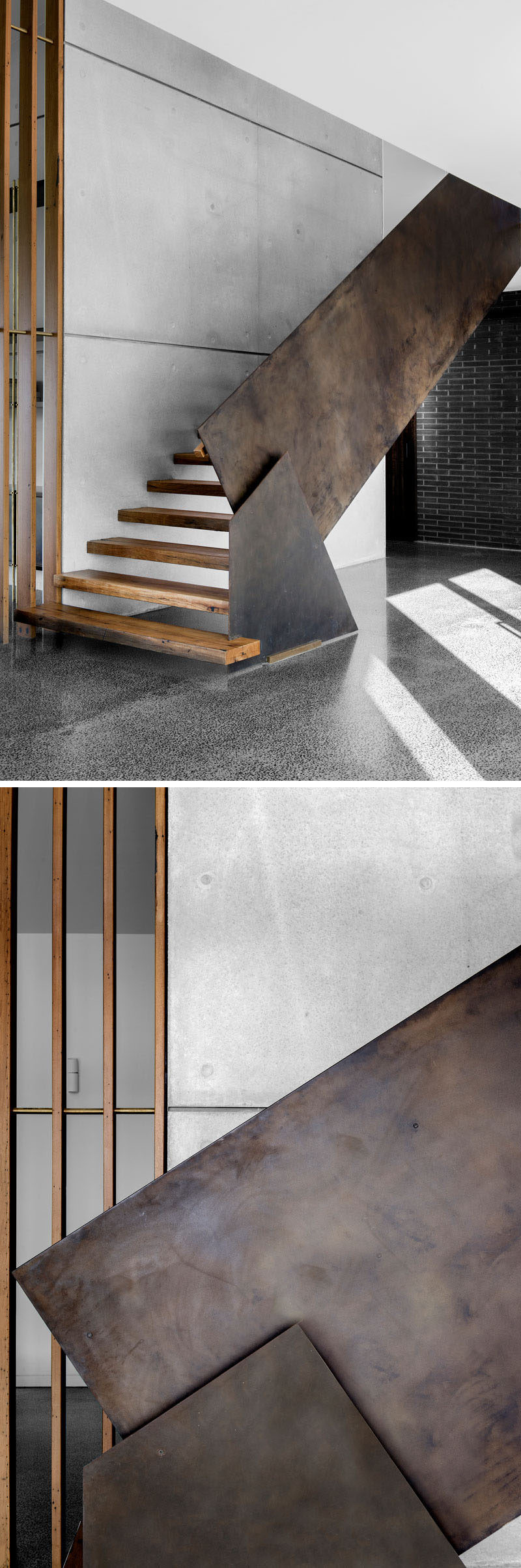 An industrial modern steel and wood staircase that leads to the second floor of this home. #Staircase #SteelHandrail #WoodStairs