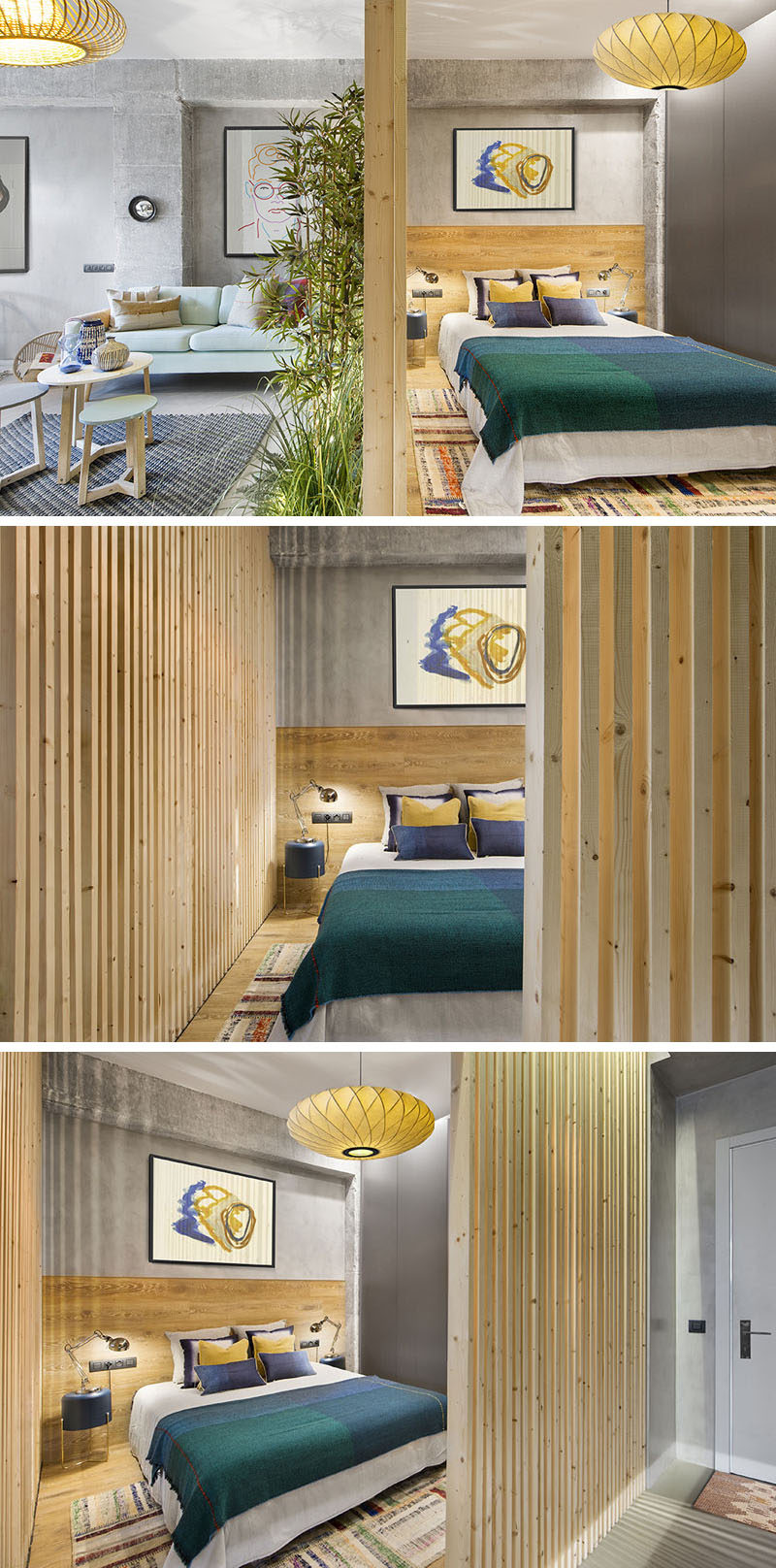 Egue y Seta designed a small apartment with wood slat walls for the bedroom that allow the light to travel through and make the interior feel larger. #WoodSlats #WoodWalls #InteriorDesign #Bedroom