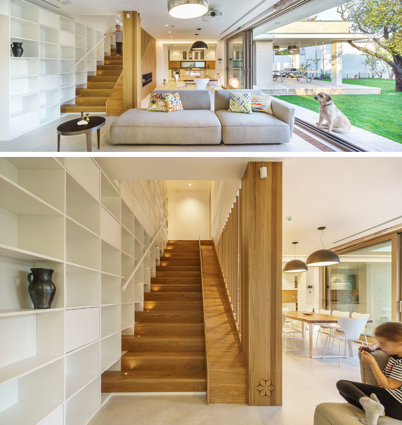 A Built In Slide Makes The Wood Stairs In This House Fun