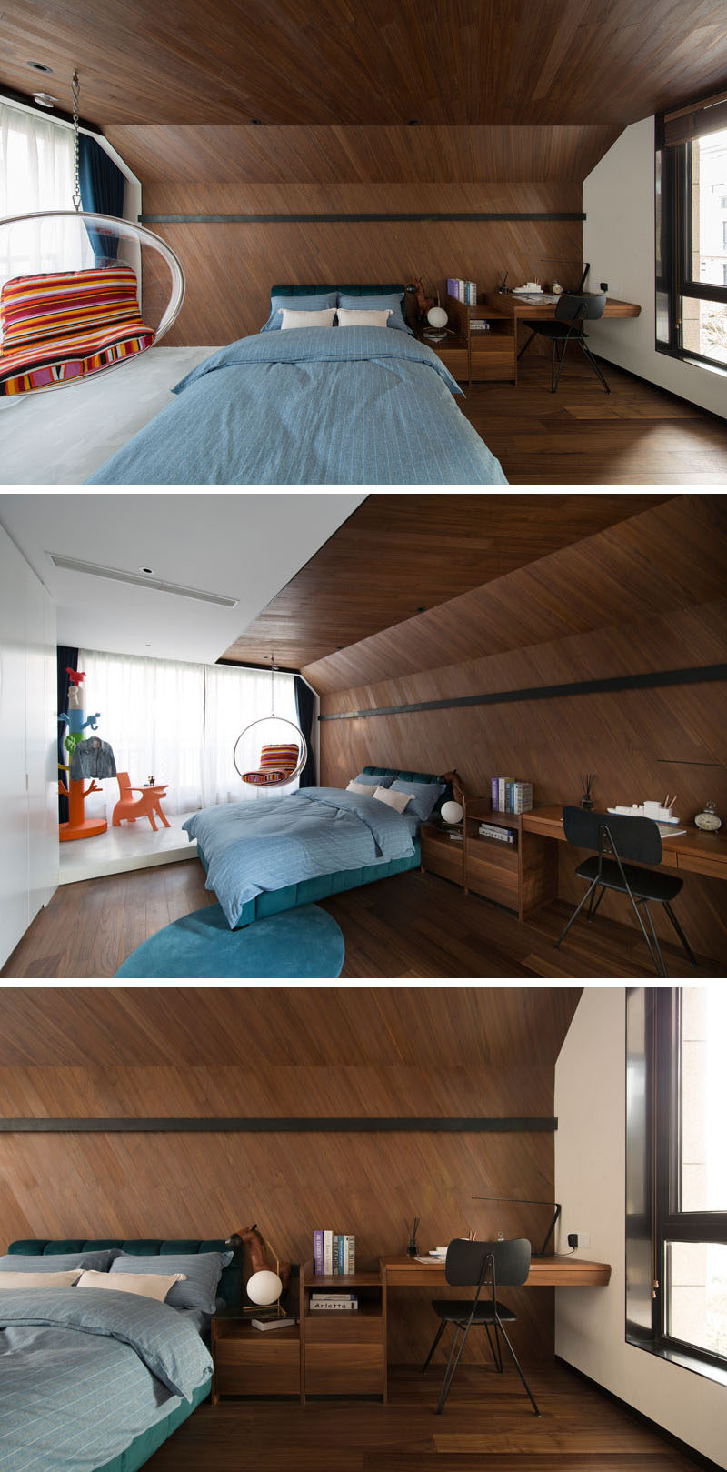 Design detail this childrens bedroom features a wrap around wood this modern kids bedroom features unique wrap around wood accent wall with hidden lighting mozeypictures Gallery
