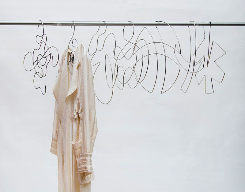 XYZ Integrated Architecture have designed 'Piece Unique', a collection of artistic wire clothes hangers. #Design #ClothesHangers