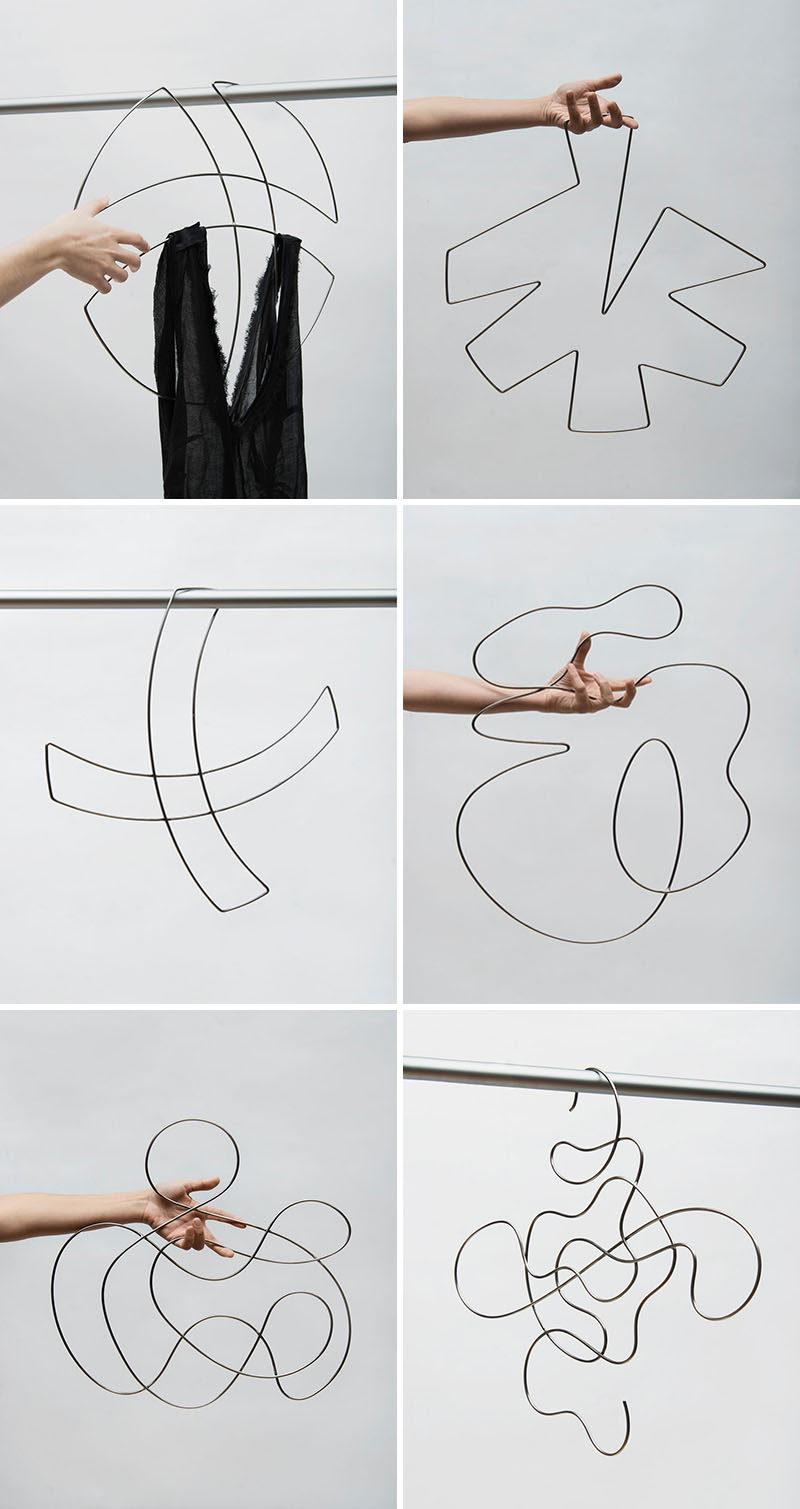 XYZ Integrated Architecture have designed 'Piece Unique', a collection of artistic wire clothes hangers. #Design #ClothesHangers
