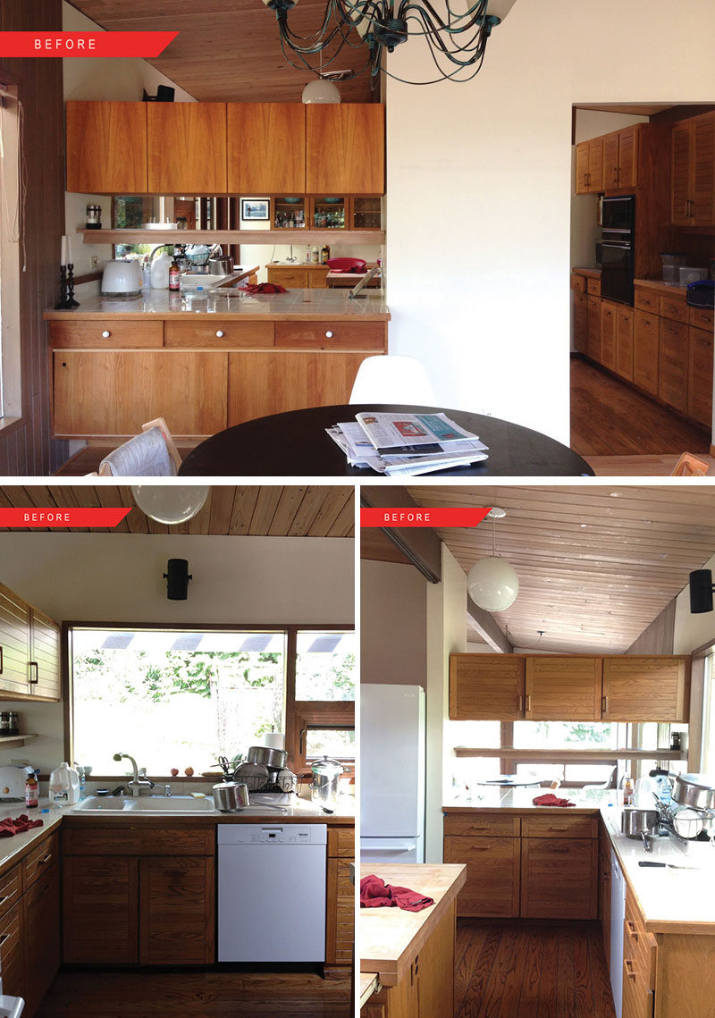 BEFORE PHOTOS - This mid-century modern kitchen got a fresh update. #BeforePhotos #KitchenRemodel
