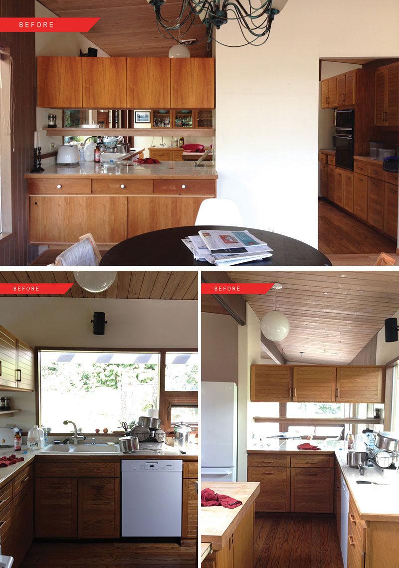BEFORE PHOTOS - This mid-century modern kitchen got a fresh update. #BeforePhotos #KitchenRemodel