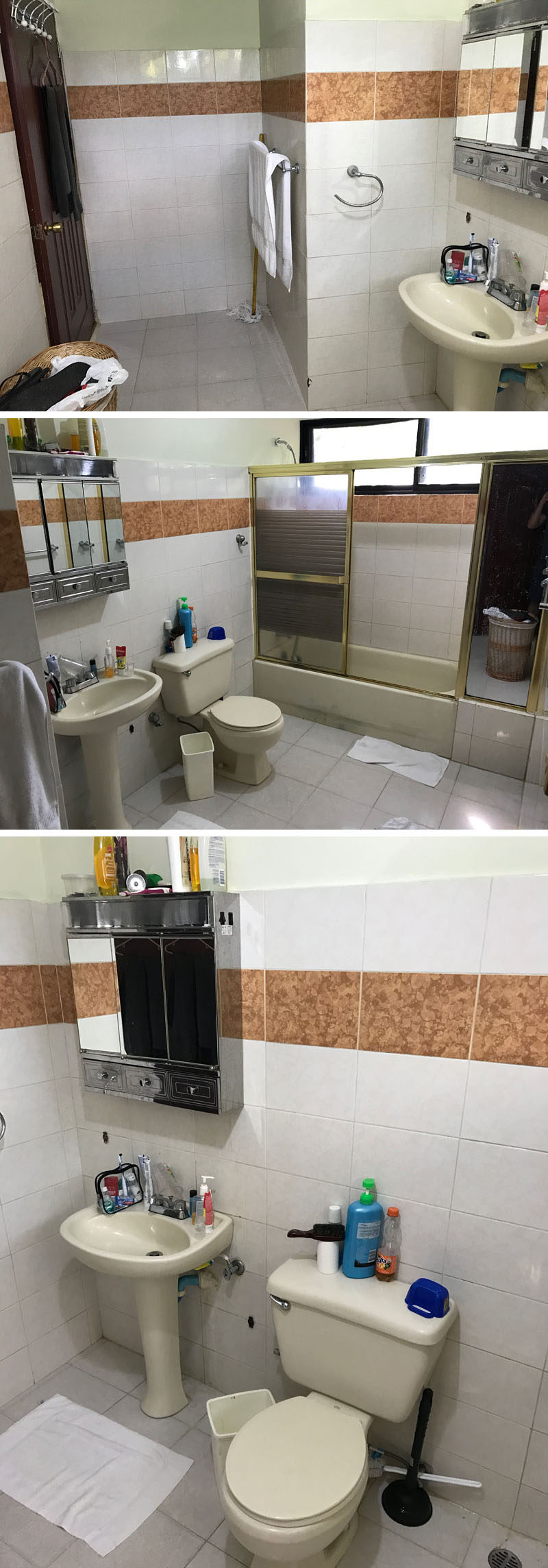 BEFORE PHOTOS - This 1990's bathroom was dated with white tiles, an band of brown-orange tiles, a pedestal sink, and a shower/bath combination with a metal shower door frame. #BeforePhotos #Renovation #Bathroom