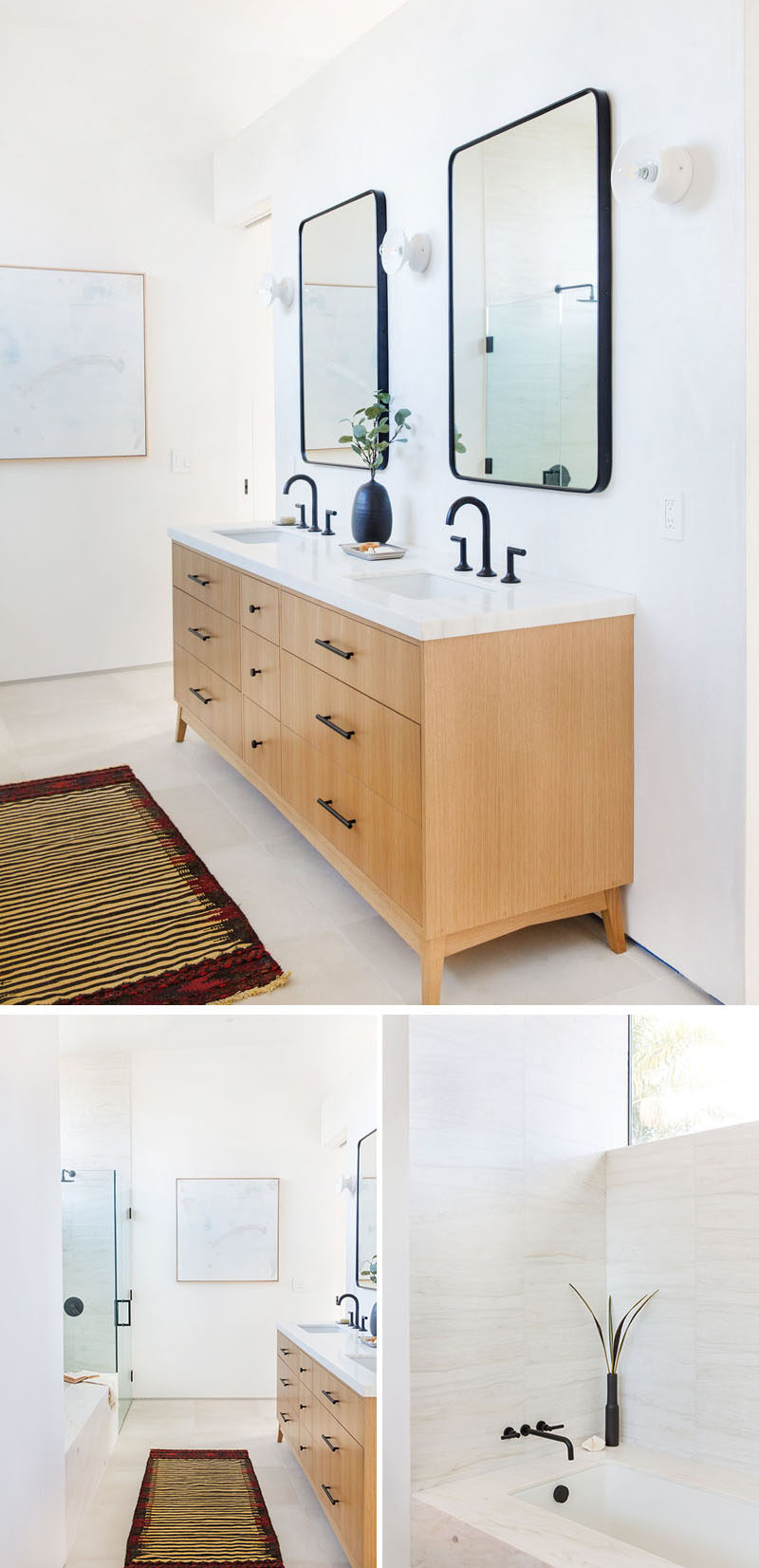 In this contemporary bathroom, a wood double-sink vanity sits opposite the shower with a glass surround and a built-in bathtub. Black framed mirrors break up the white walls. #Bathroom
