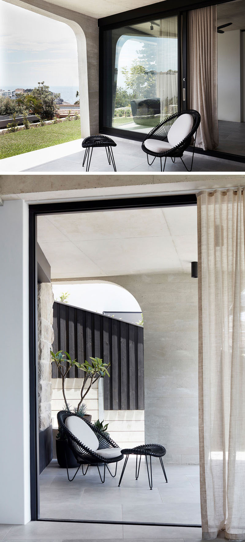 This modern concrete house has a small covered terrace that's positioned to take advantage of the ocean views. #Terrace