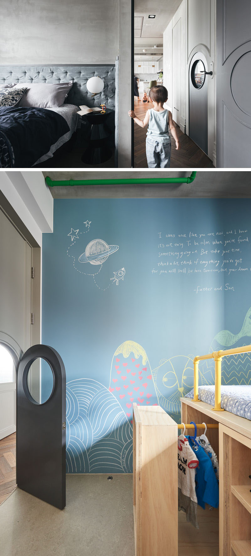 This kid's bedroom has a custom sized door within the door for the child to gain access to their room. #Door #KidsDoor