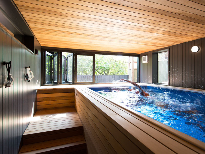 What was once an old tool shed has now been transformed into a space for an endless pool. #Pool #IndoorPool