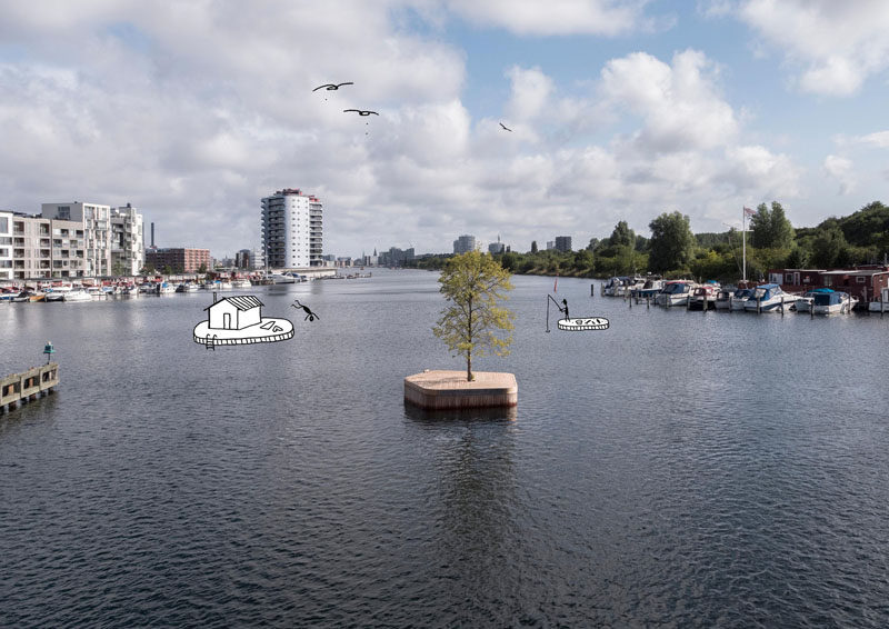 Australian architect Marshall Blecher and Magnus Maarbjerg from design studio Fokstrot, have created CPHØ1, a prototype floating island which will move around Copenhagen harbor. #Design #Island #FloatingPlatform
