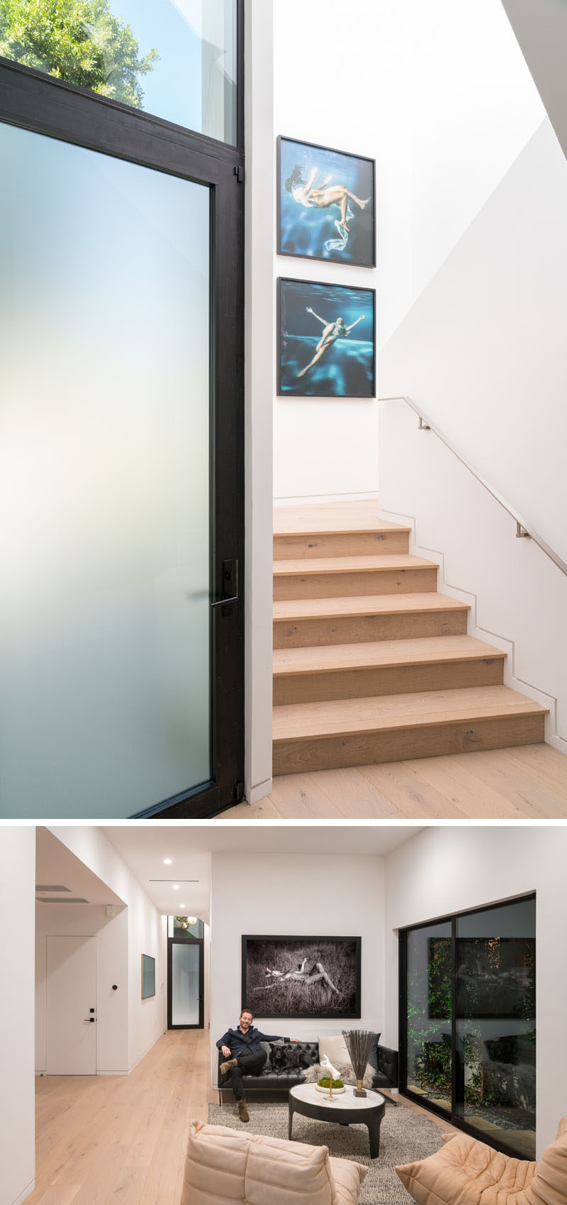 A frosted front door welcomes people to this modern house, and once inside, there's stairs that lead to the upper floor of the home, and a small sitting area. #FrontDoor #FrostedGlassDoor #SittingRoom