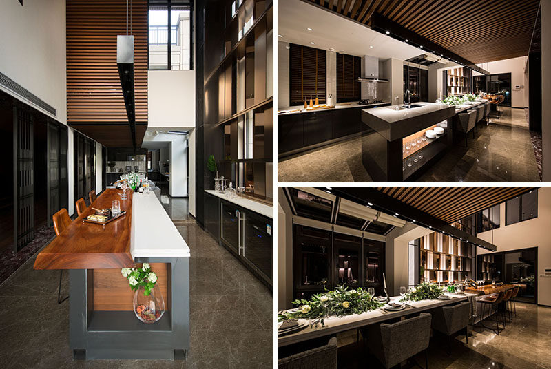 This Long And Modern Kitchen Island Is Home To A Bar Six Person Dining