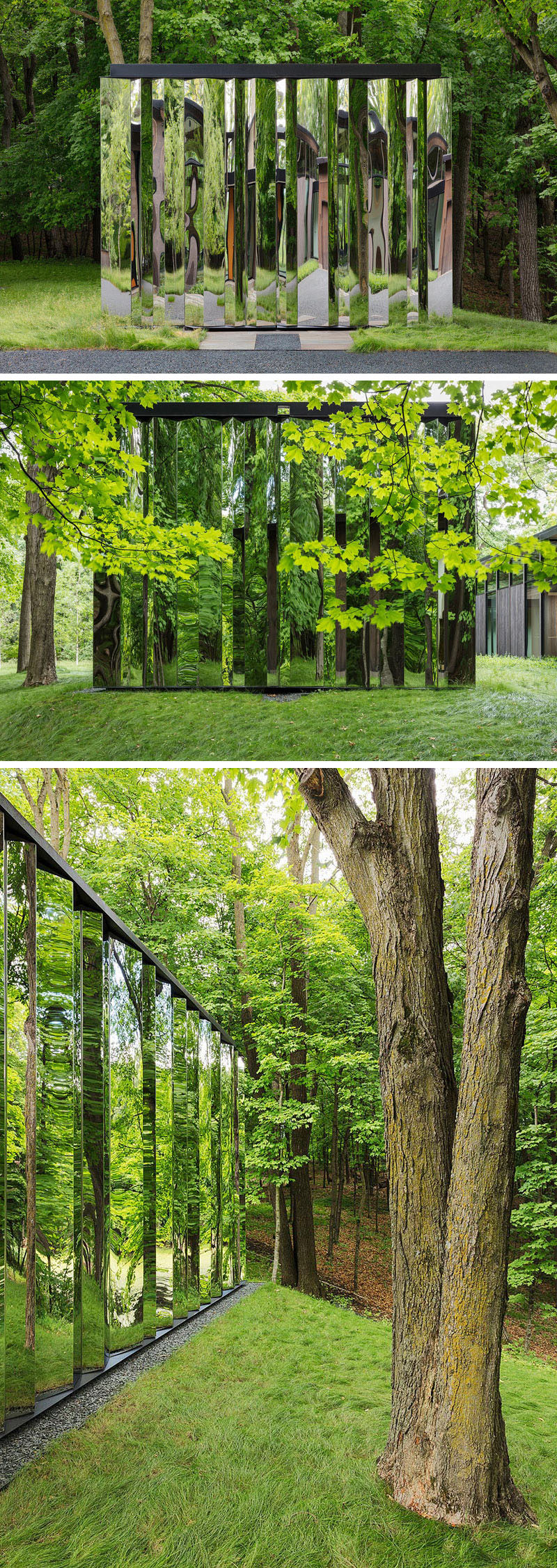 "This modern detached out-building, or ""shiny shed"", has been designed for storage and it almost dissolves into the woods by showing reflections of its surroundings. #Shed #Mirrored #Architecture"