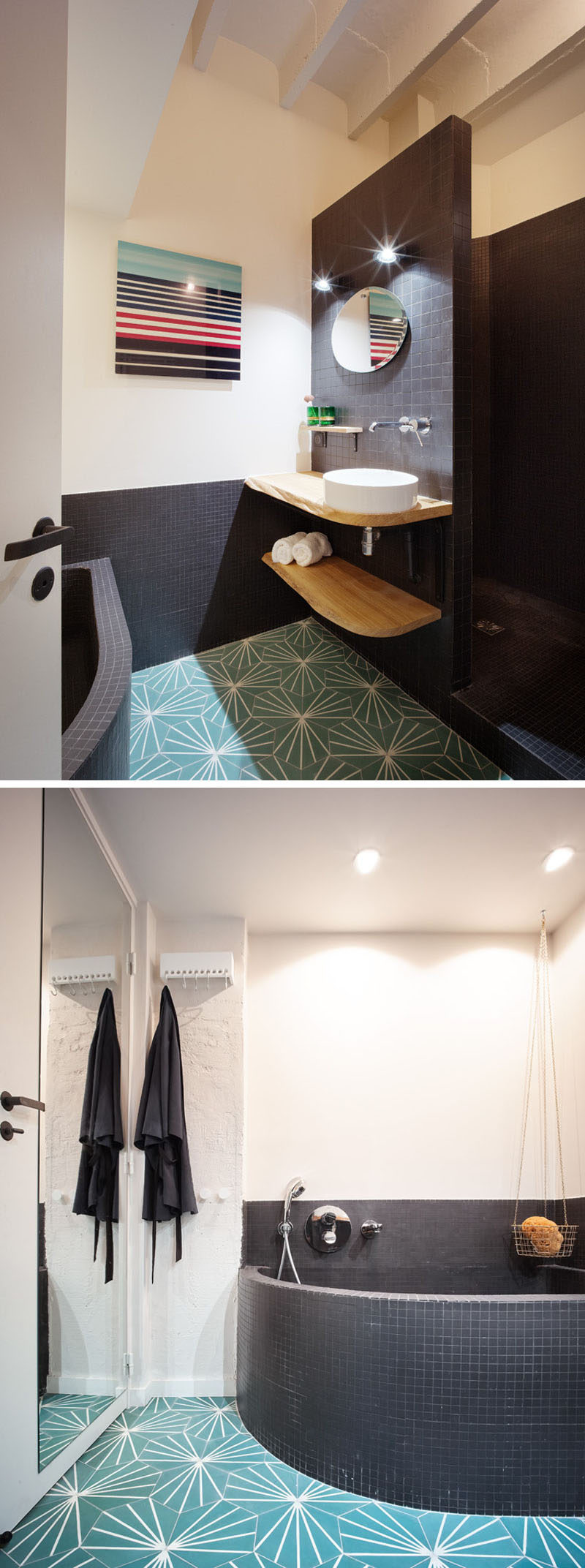 In this modern bathroom, black tiles and patterned colorful floor tiles have been used to break up the otherwise white room. #ModernBathroom