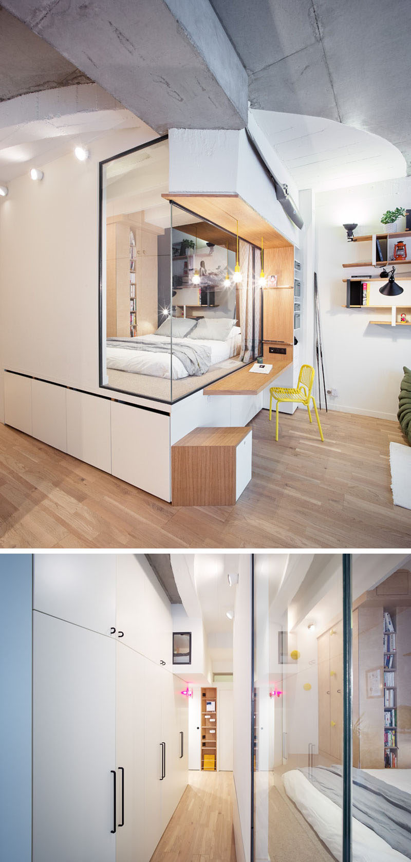 This apartment has internal glass walls to take advantage of the light from the main windows. #GlassWall #Hallway #Bedroom