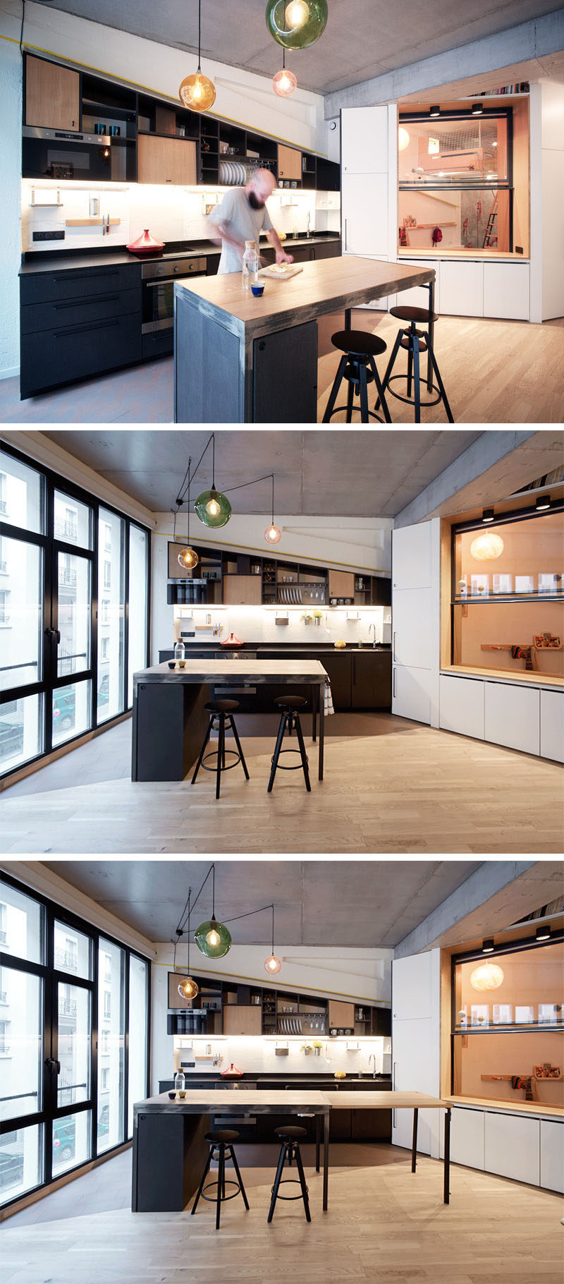 This modern kitchen has an island with an extendable countertop. #KitchenIsland #KitchenDesign